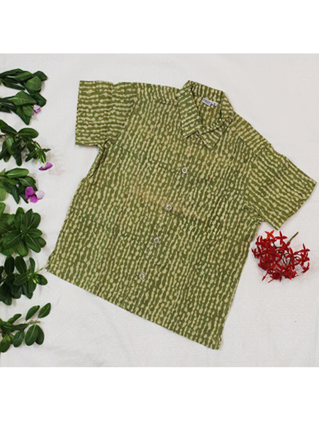 Green and Yellow Hand Block Printed Shirt