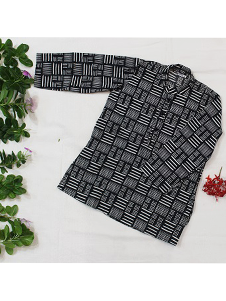 White and Black Hand Block Printed Kurta