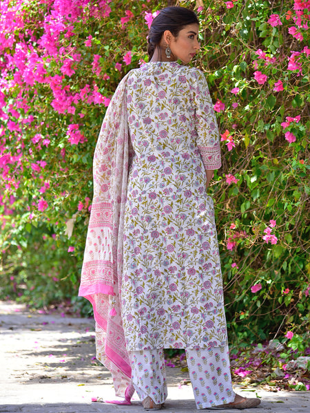 Cotton Pink Jaal V neck Kurta set