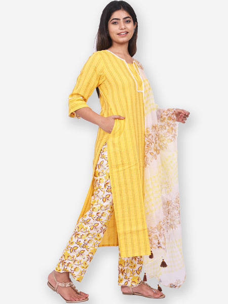 Women Chain Stitch Kurta Palazzo Dupatta Set
