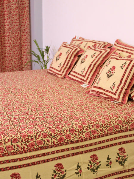 Bed Cover Floral Jaal Pink