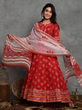 Women Cotton Anarkali Dress Red Gud Booti 3127