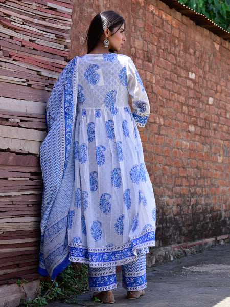 Cotton Double Layer Jacket Kurta Set Blue Paisley