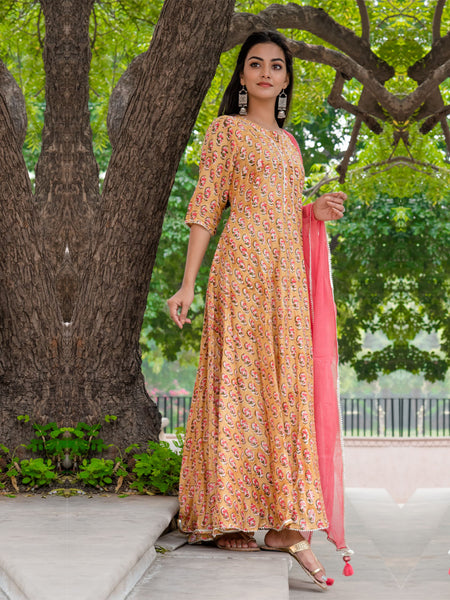 Women Silk Anarkali Dress Booti Print Yellow