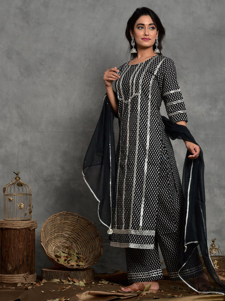 Women Black Booti Gota Trim Kurta with Palazzo and Dupatta