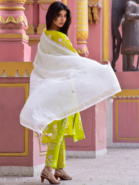 Cotton Lime Gud Boota Kurta Pants Dupatta Set