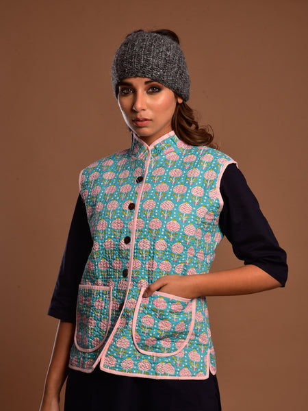 Cotton Quilted Jacket Firozi Booti