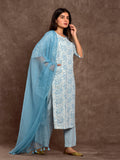 Cotton Flax Paisley Border Kurta Set Teal