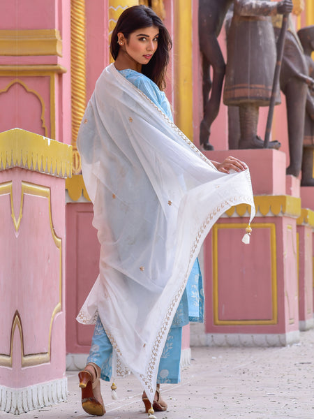 Cotton Blue Gud Boota Kurta Pants Dupatta Set