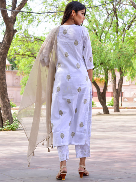 Cotton Brown Booti Kurta Pant Dupatta Set