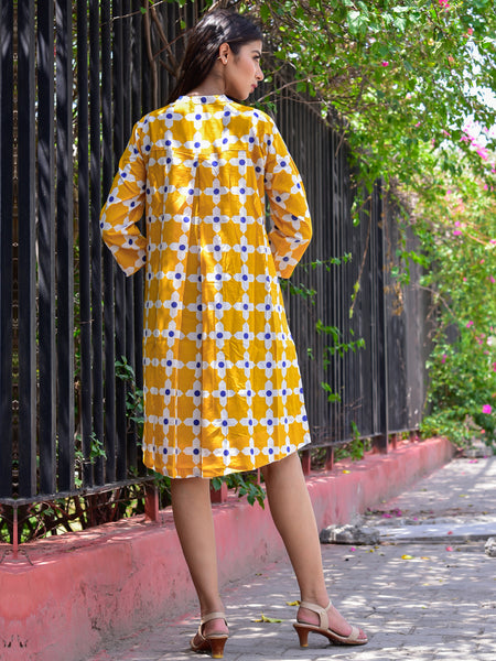 Cotton Women Moroccan Yellow Print Tunic