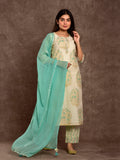 Chanderi Silk Gold Boota Set S.Green