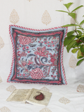 Sea Blue and Pink Handblock Printed Cotton Cushion Cover