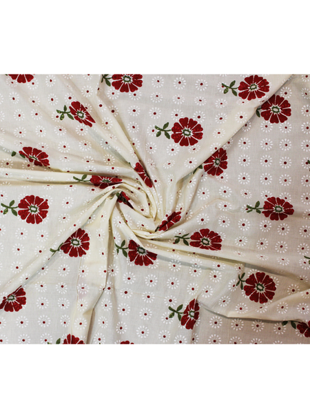 Pure Cotton Off White Color Hand Block Printed Fabric.