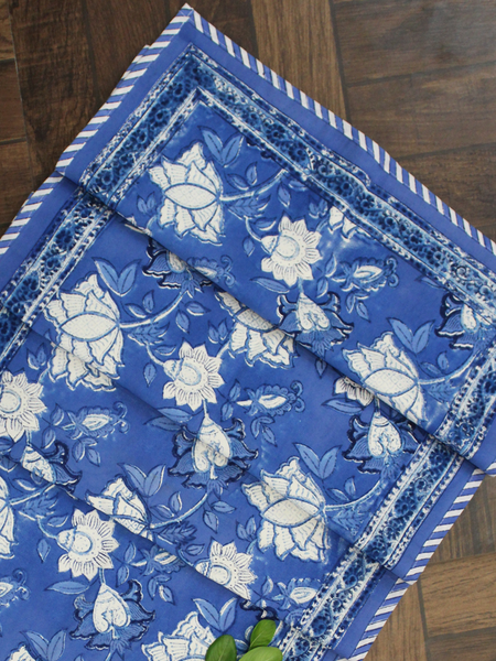 Blue Floral Print Canvas Table Runner
