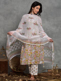Cotton Pin Tuck Grey Jaal Kurta Dupatta Pants Set