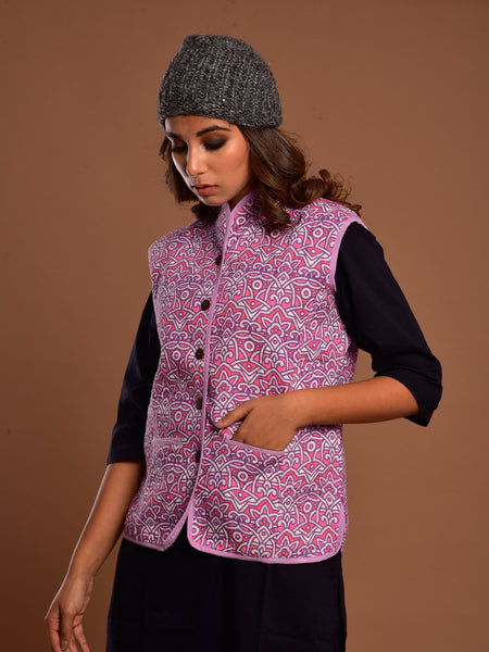 Cotton Quilted Jacket Purple Geo