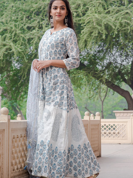 Women Cotton Anarkali Dress Panel Print Blue