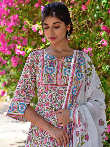 Cotton Pink Jaal Border yoke Kurta Set