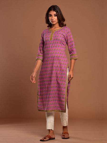 Cotton Panch Booti Kurta Purple