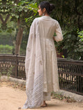 Cotton Plain Dye Anarkali Kurta Set Grey