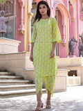 Cotton Green Paisley Kurta Dhoti Set