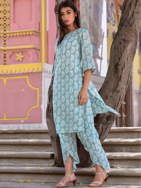 Cotton Teal Paisley Kurta Dhoti Set