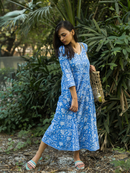 Cotton Women Sundress Blue Floral 3127