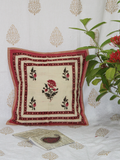 Beige and Pink Hand block Printed Cotton Cushion Cover