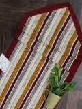 Beige and Maroon Geometrical Print Table Runner