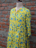 Yellow Color Cotton Floral Jaal Anarkali