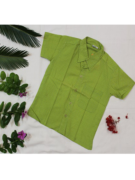 Green Zig Zag Hand Block Printed Shirt