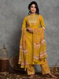 Cotton Yellow Mahin booti gud kurta palazzo and dupatta set