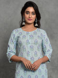 Women Aqua Blue Booti Kurta Palazzo Co-orded Set 3227