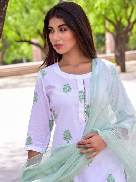 Cotton Green Booti Kurta Pant Dupatta Set