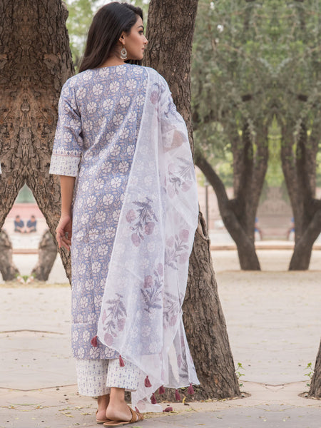 Cotton Grey Jaal Kurta Pants Dupata Set