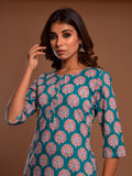 Cotton Palm Booti Kurta Teal Green