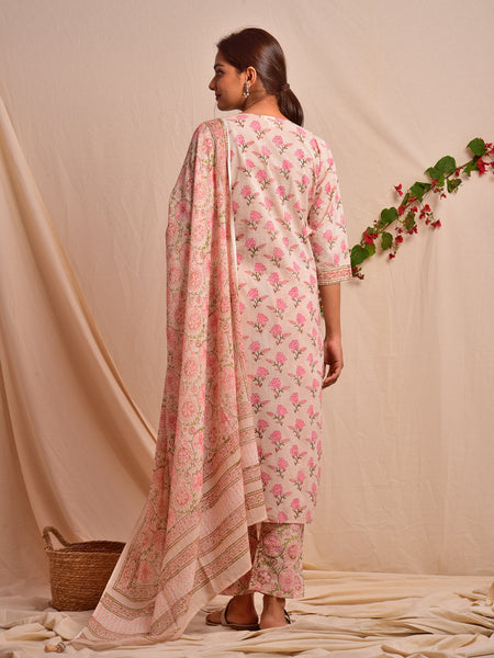 Cotton Shell Tuck Booti Kurta Set in Cameo Rose