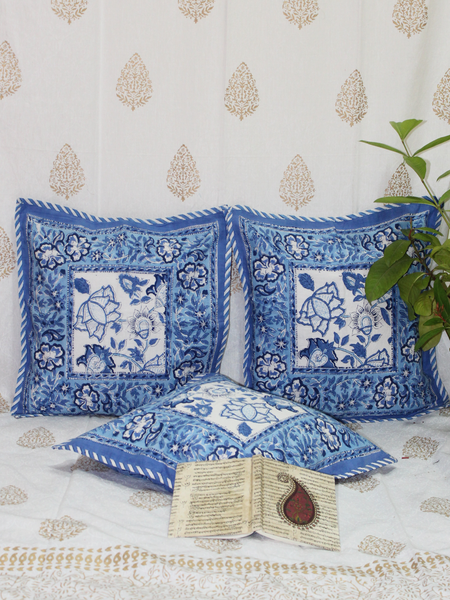 Blue & White Handblock Printed Cotton Cushion Cover