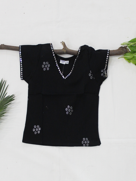 Black Straight Cotton Girls Kurti