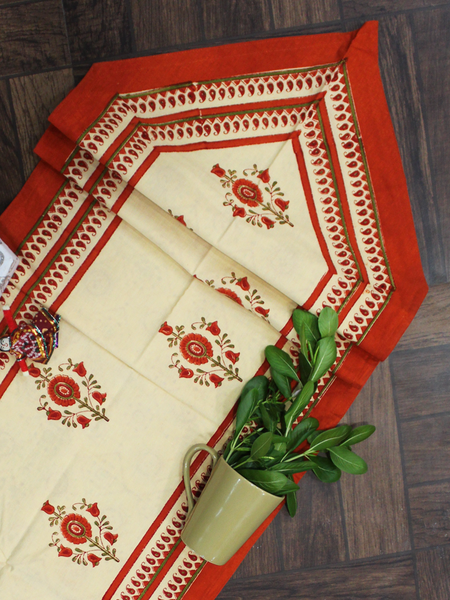Beige and Orange Reversible Floral Print Table Runner