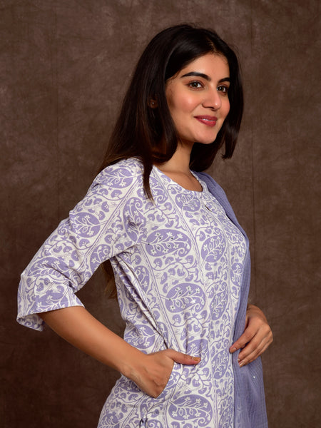Cotton Flax Paisley Border Kurta Set Lilac