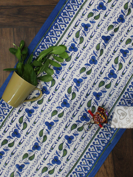 Blue and White Floral Jaal Print Table Runner