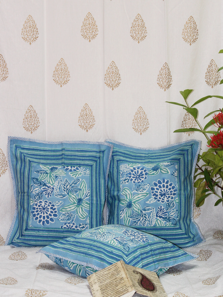 Blue Handcrafted Cotton Cushion Cover