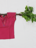 Pink Half Sleeves Cotton Girls Kurti