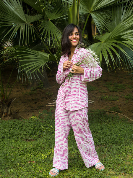 Cotton Night Suit Lavender Dots