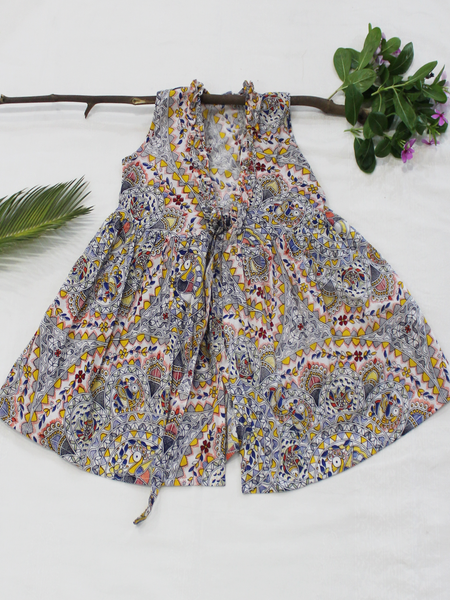 White Kalamkari Print Cotton Girls Frock