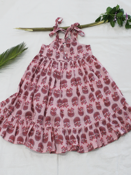 Pink Hand Block Printed Cotton Girls Frock