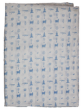 Blue Abstract Hand Block Printed Fabric.