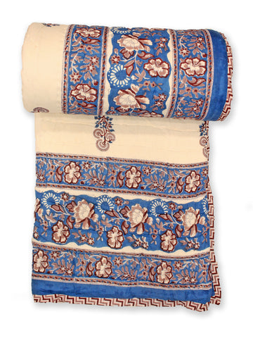 Quilt Warm Blue Flower Jaal